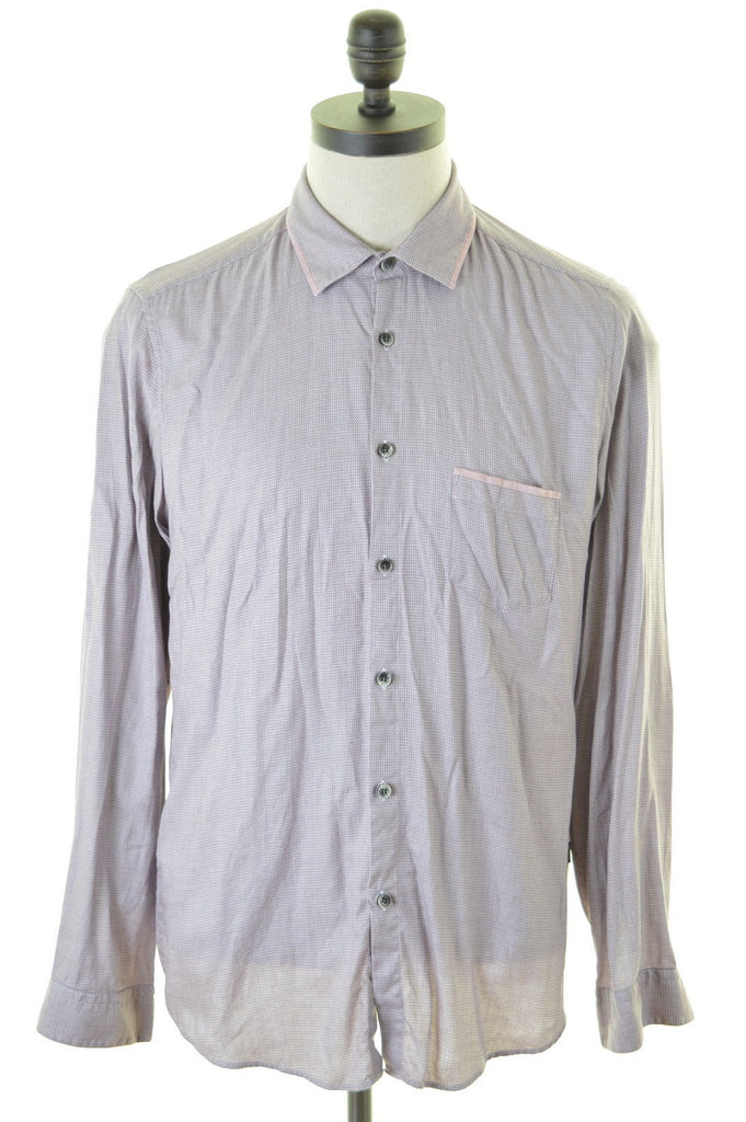 HUGO BOSS Mens Shirt Medium Purple Cotton Regular Fit - Second Hand & Vintage Designer Clothing - Messina Hembry