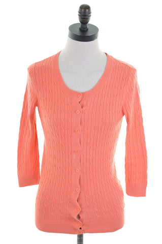 TOMMY HILFIGER Womens Cardigan Sweater 3/4 Sleeve Size 6 XS Orange Cotton