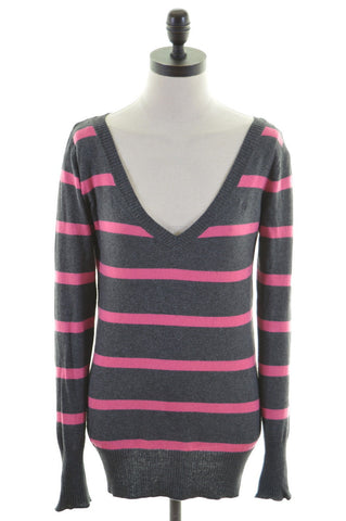CREW CLOTHING CO. Womens V-Neck Jumper Sweater Size 6 XS Grey Stripes Cotton