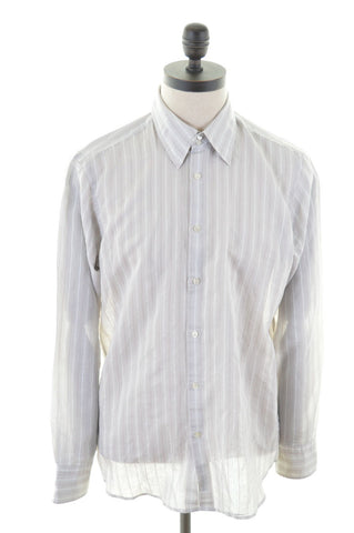 HUGO BOSS Mens Shirt Large Grey Stripes Cotton