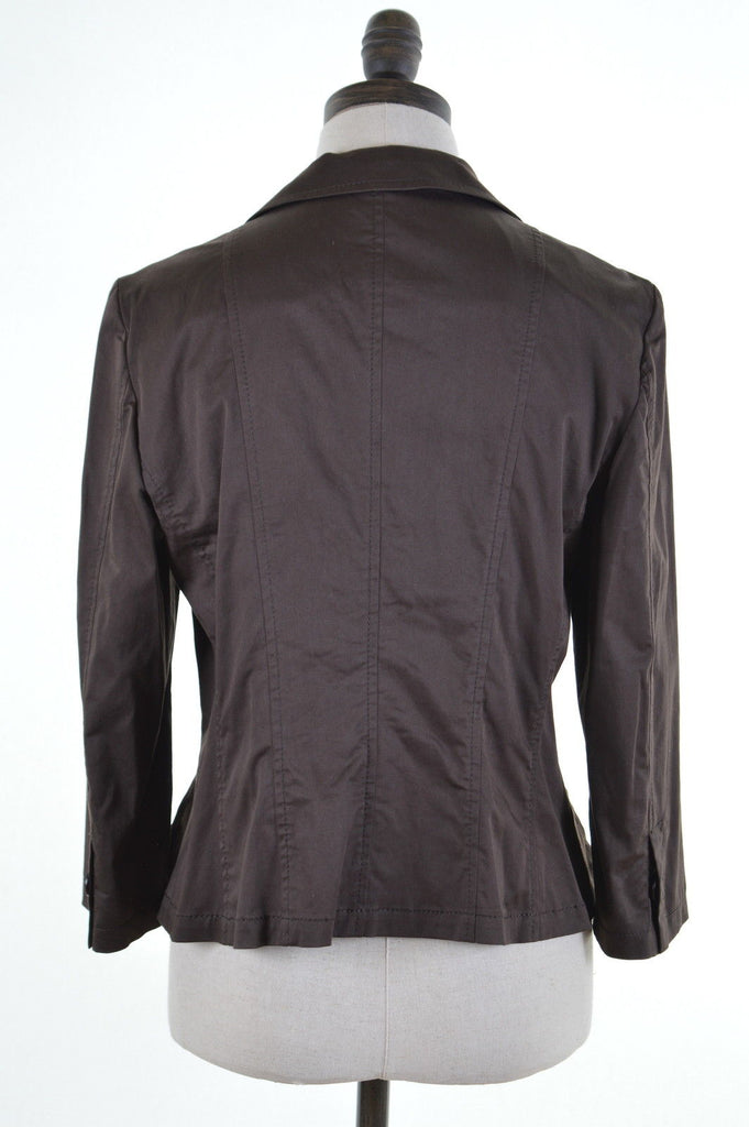 MARELLA Womens Blazer Jacket Size 12 Medium Brown Cotton - Second Hand & Vintage Designer Clothing - Messina Hembry