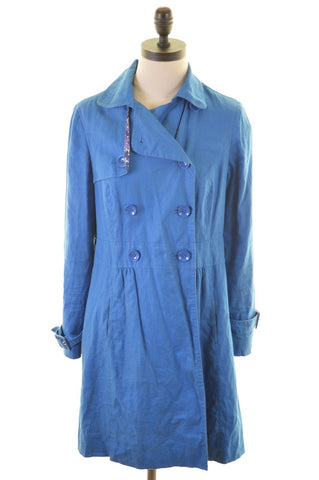 MONSOON Womens Overcoat Size 8 Small Blue Linen