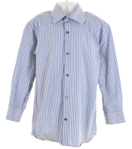 DKNY Boys Shirt Size 8 Small Blue Stripes Cotton Loose Fit