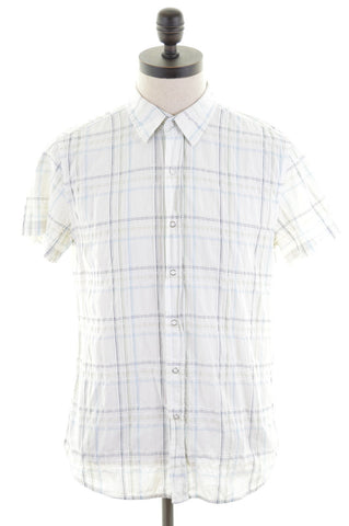 CARRERA Mens Shirt Large White Check Cotton