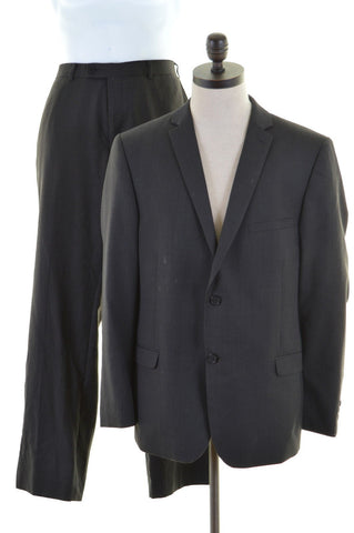 CALVIN KLEIN Mens 2 Piece Suit Size 40 Medium W36 L31 Grey Wool