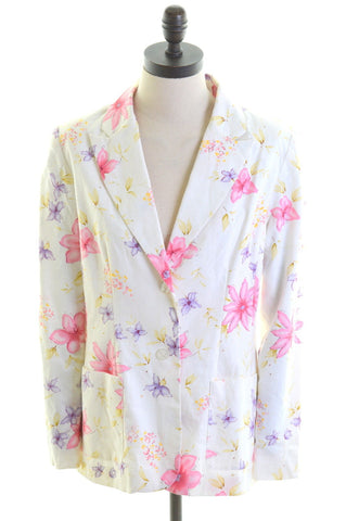 CHADWICKS Womens 2 Button Blazer Jacket Size 6 XS Multi Floral Linen Loose Fit