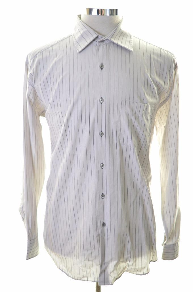 Pierre Cardin Mens Shirt Size 41 Large Grey Stripes Cotton - Second Hand & Vintage Designer Clothing - Messina Hembry
