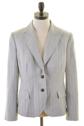 RICHMOND Womens 2 Button Blazer Jacket Size 14 Large Grey Stripes Polyester