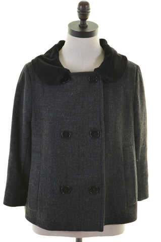 JIGSAW Womens Double Breasted Jacket Size 10 Small Grey Wool