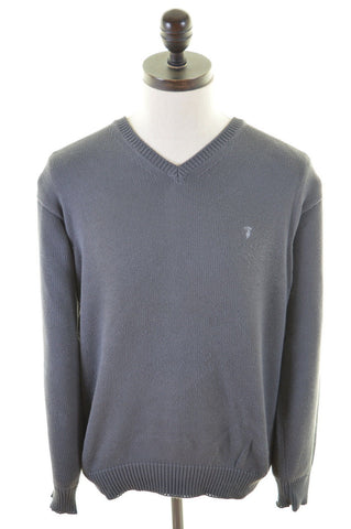 TRUSSARDI Mens V-Neck Jumper Sweater Large Grey Cotton