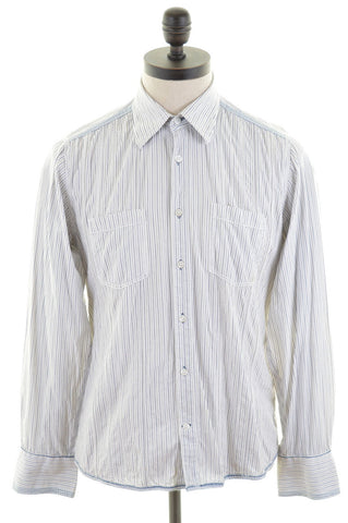JACK & JONES Mens Shirt Medium White Stripes Cotton