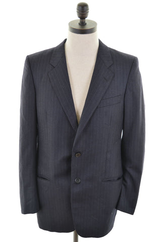 VALENTINO Mens 2 Button Blazer Jacket Size 38 Medium Navy Blue Stripe New Wool