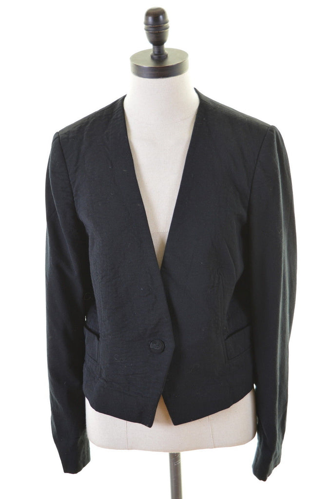 JAEGER Womens 1 Buttoon Blazer Jacket Size 12 Medium Black Wool - Second Hand & Vintage Designer Clothing - Messina Hembry