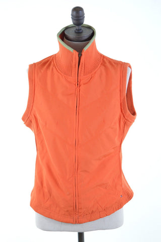 TOMMY HILFIGER Womens Gilet Size 12 Medium Orange Polyester