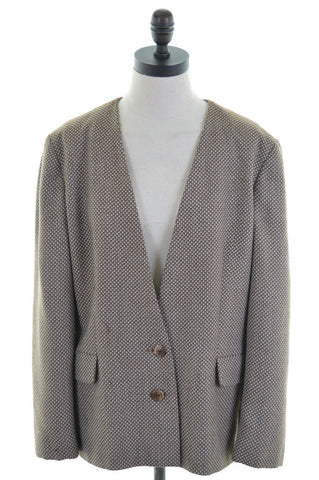 LUISA SPAGNOLI Womens 2 Button Blazer Jacket Size 44 16 Large Brown Polyester