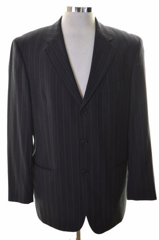 Hugo Boss Mens Blazer Jacket Size 40 Medium Navy Blue Stripes Wool Polyamide