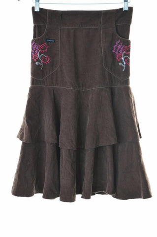 Calvin Klein Womens Corduroy Skirt W28 Brown