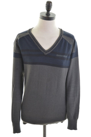 JACK & JONES Womens V-Neck Jumper Sweater Size 8 Small Navy Blue Grey Cotton