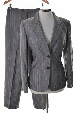 Tahari Arthur S. Levine Womens Suit Size 8 Medium Grey Stripe Rayon Polyester