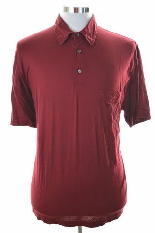 Pierre Cardin Mens Polo Shirt Large Burgundy Cotton