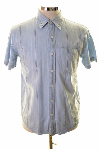 Wrangler Mens Shirt Small Blue Stripes Cotton Loose Fit
