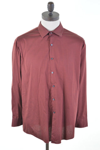 DKNY Mens Shirt Large Burgundy Slim Fit