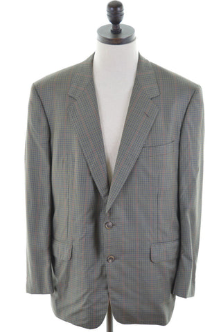 TRUSSARDI Mens 2 Button Blazer Jacket Size 42 Large Green Check Wool