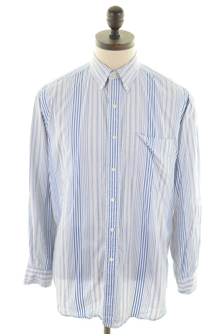 RALPH LAUREN Mens Shirt Medium White Stripes Cotton