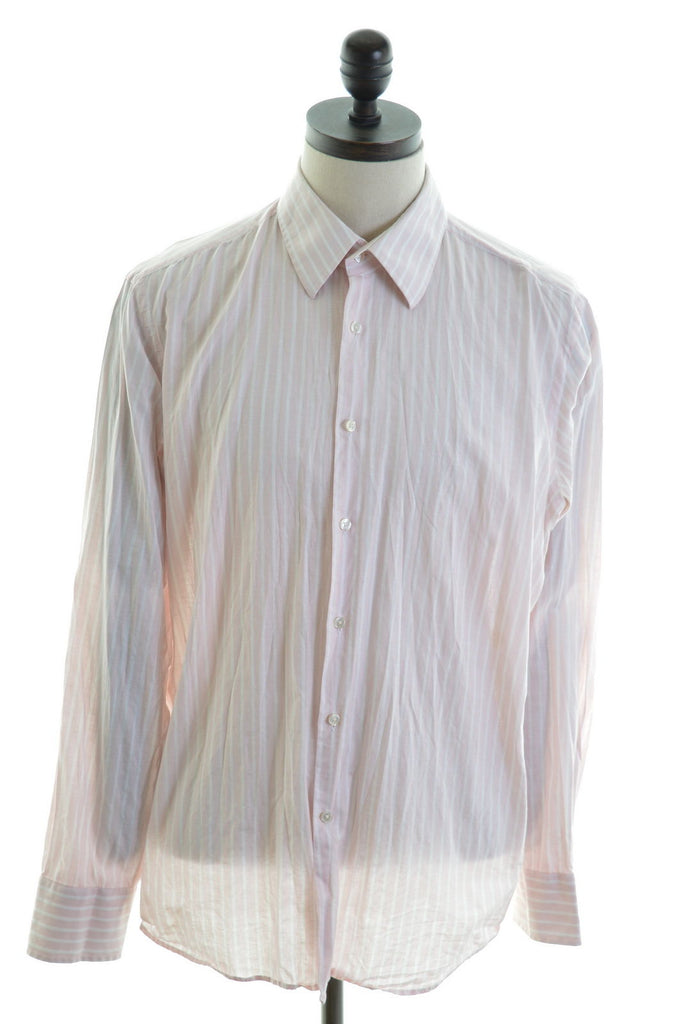 HUGO BOSS Mens Shirt Size 43 Large Pink Stripes Cotton - Second Hand & Vintage Designer Clothing - Messina Hembry