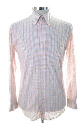 Daniel Hechter Mens Shirt Size 38 Medium White Multi Check Cotton