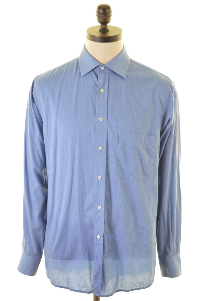 JAGER Mens Shirt Size 42 16 Large Blue Cotton - Second Hand & Vintage Designer Clothing - Messina Hembry