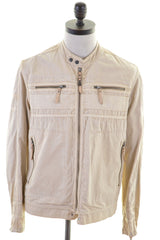 DIESEL Womens Jacket Size 14 Large Beige Cotton