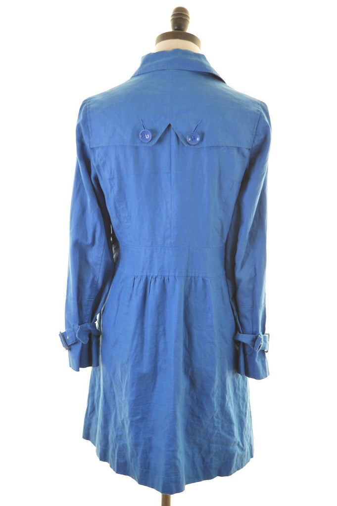 MONSOON Womens Overcoat Size 8 Small Blue Linen - Second Hand & Vintage Designer Clothing - Messina Hembry
