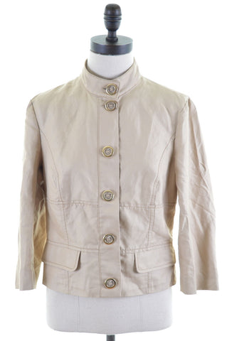ICEBERG Womens Blouson Jacket Size 12 Medium Beige Cotton