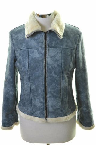 Australian Womens Sherpa Jacket Size 42 10 Medium Blue Acrylic Polyester
