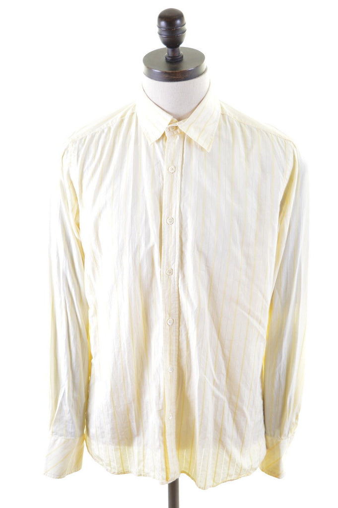 TED BAKER Mens Shirt Medium Yellow Stripes Cotton - Second Hand & Vintage Designer Clothing - Messina Hembry