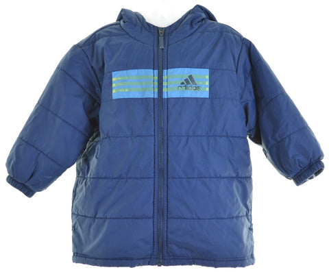 ADIDAS Boys Padded Jacket Size 4T Large Blue Polyester