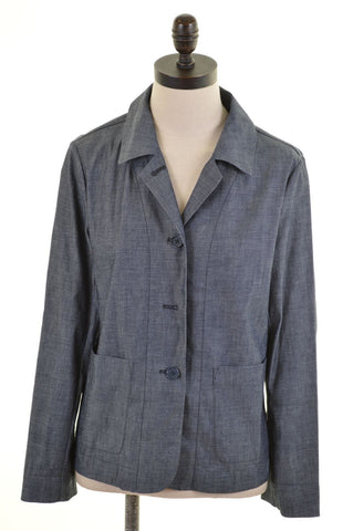 DKNY Womens Blazer Jacket US 8 Medium Grey Cotton Oversized