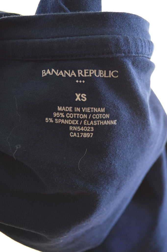 BANANA REPUBLIC Womens T-Shirt Top Size 6 XS Navy Blue Cotton - Second Hand & Vintage Designer Clothing - Messina Hembry