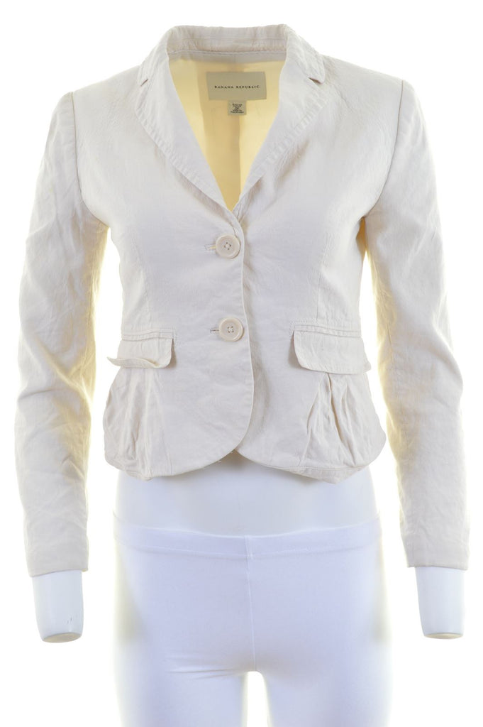 BANANA REPUBLIC Womens 2 Button Blazer Jacket US 0 XS Off White Polyester - Second Hand & Vintage Designer Clothing - Messina Hembry