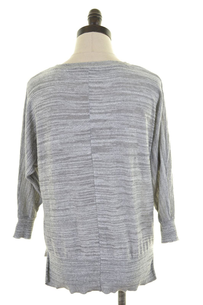ANN TAYLOR Womens Knit Top 3/4 Sleeve Size 6 XS Grey Cotton - Second Hand & Vintage Designer Clothing - Messina Hembry