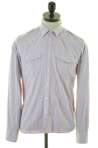 DKNY Mens Shirt Medium Pink Cotton