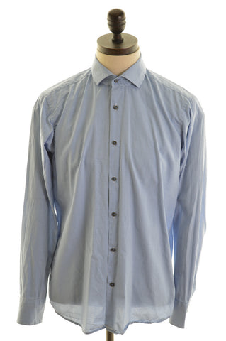 HUGO BOSS Mens Shirt Size 40 Medium Blue Check Cotton