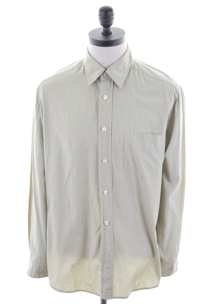 HUGO BOSS Mens Shirt Large Green Check Cotton - Second Hand & Vintage Designer Clothing - Messina Hembry