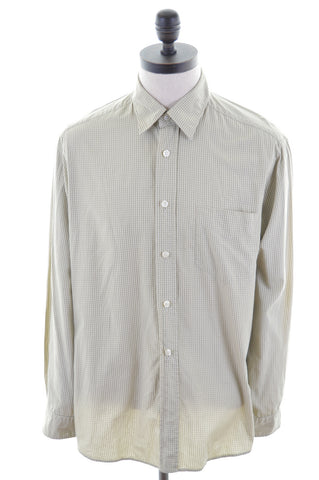 HUGO BOSS Mens Shirt Large Green Check Cotton