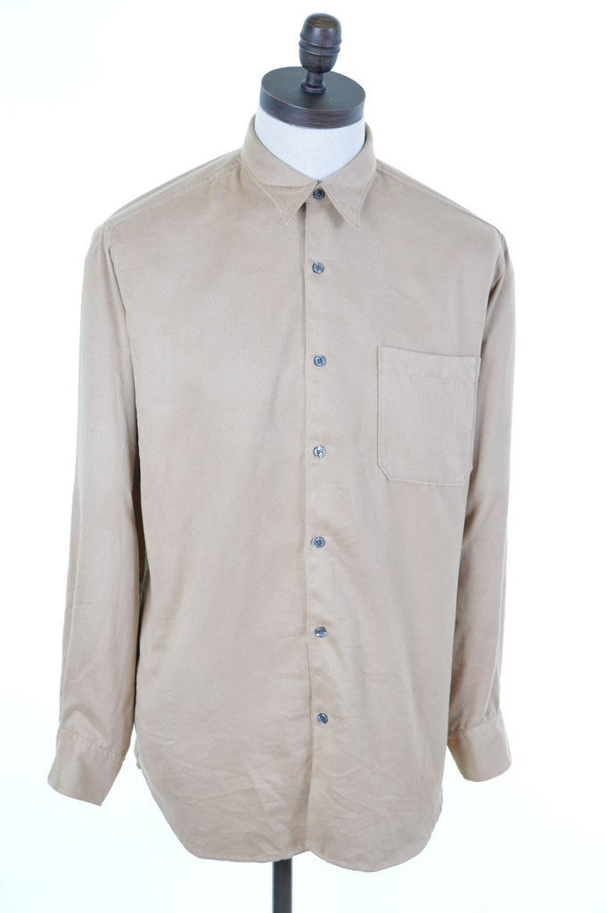 DKNY Mens Shirt Medium Brown Polyester Loose Fit - Second Hand & Vintage Designer Clothing - Messina Hembry