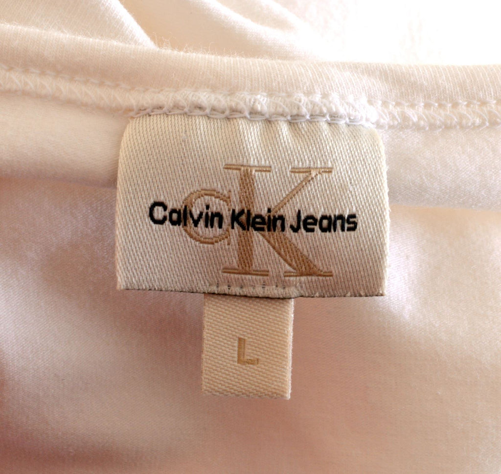 CALVIN KLEIN Womens T-Shirt Top Size 16 Large White Cotton - Second Hand & Vintage Designer Clothing - Messina Hembry