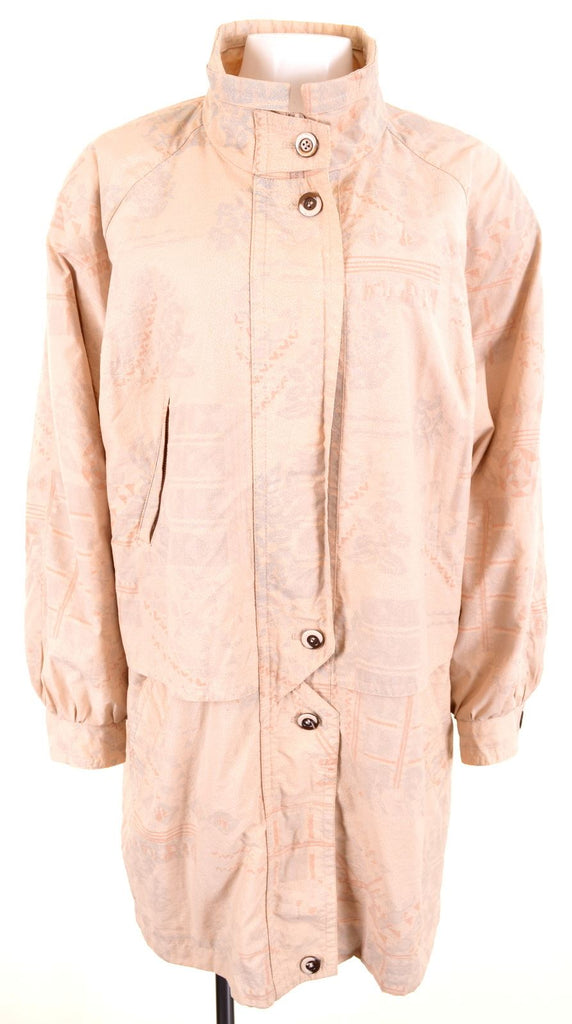 VINTAGE Womens Windbreaker Jacket IT 44 Medium Beige Polyester Loose Fit - Second Hand & Vintage Designer Clothing - Messina Hembry