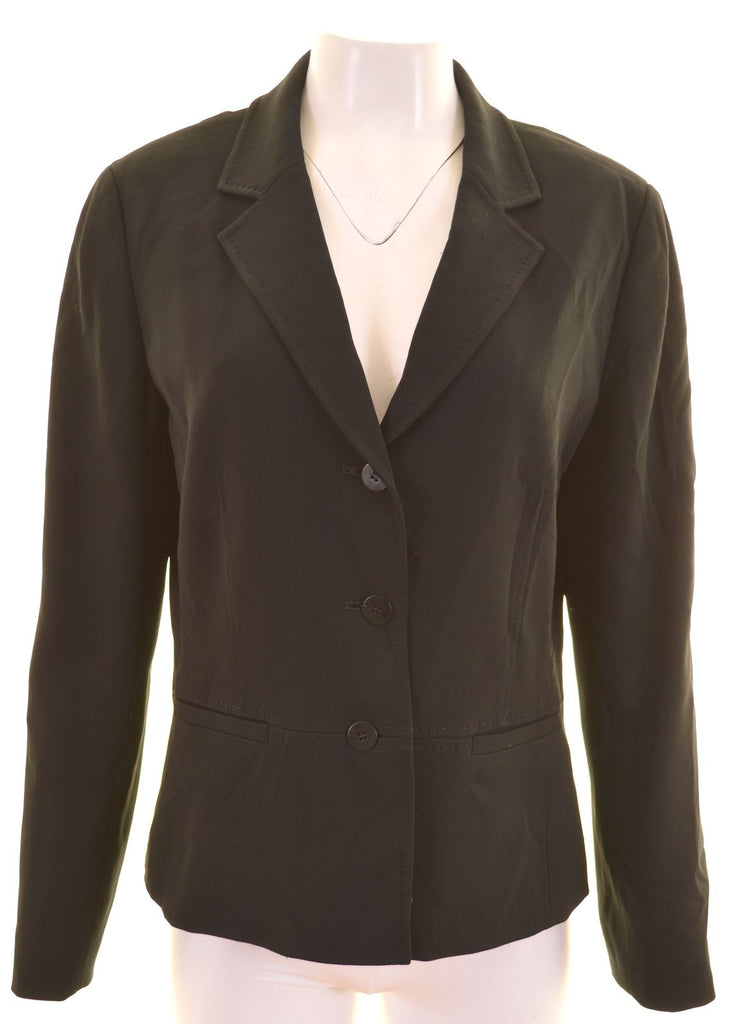 LIZ CLAIBORNE Womens 3 Button Blazer Jacket US 12 XL Black Triacetate - Second Hand & Vintage Designer Clothing - Messina Hembry