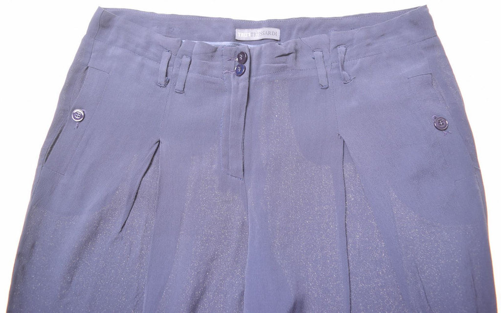 TRUSSARDI Womens Trousers W32 L28 Blue Viscose - Second Hand & Vintage Designer Clothing - Messina Hembry